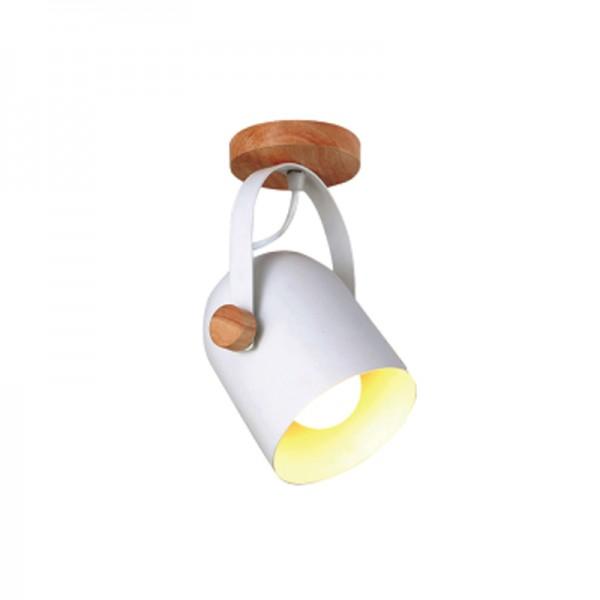 InLight Επιτοίχιο σποτ από λευκό μέταλλο και ξύλο (6133-1-WH)