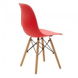 Καρέκλα Julita pakoworld PP χρώμα κόκκινο - φυσικό