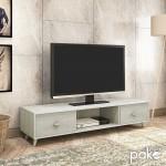 Έπιπλο τηλεόρασης FIRENZE  pakoworld χρώμα γκρι-λευκό 150,5x41x33εκ